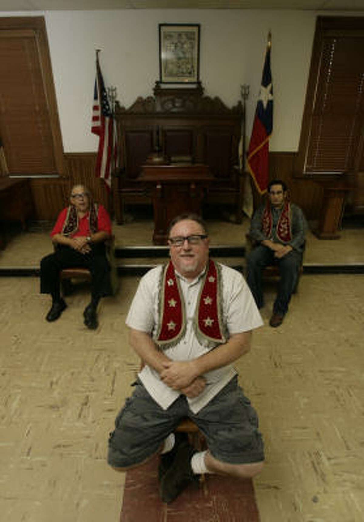 Kenny Browning, center, Rufus Bryant, left, and Ramon Martin are members of the Heights Odd Fellows Lodge.