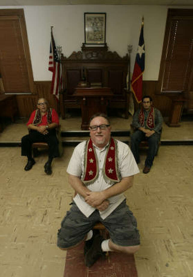 Kenny Browning, center, Rufus Bryant, left, and Ramon Martin are members of the Heights Odd  Fellows Lodge. Photo: Julio Cortez, Chronicle