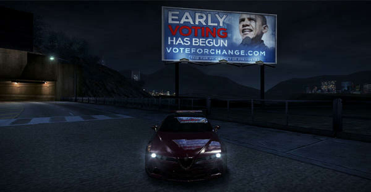 This computer image shows an advertisement for Democratic presidential candidate Sen. Barack Obama, D-Ill., inserted in the XBox360 Live version of the video game Need for Speed: Carbon.