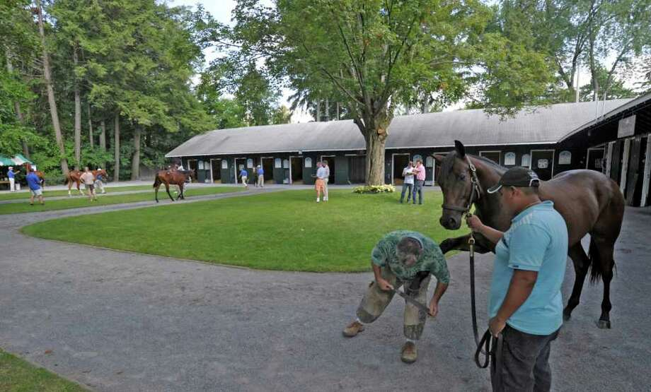 The yearling horses are coming in and some are already being inspected for sale purposes at the Fasig-Tipton sales grounds in Saratoga Springs, N.Y. August 5, 2011.  The sales begin Monday evening August 7th at 7:00 P.M.      (Skip Dickstein / Times Union) Photo: SKIP DICKSTEIN