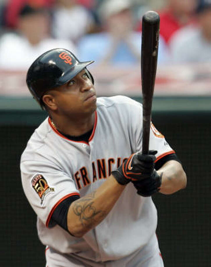 Jose Castillo (shown homering against Cleveland this season) was designated for assignment by the Giants on Aug. 13. Photo: Tony Dejak, AP