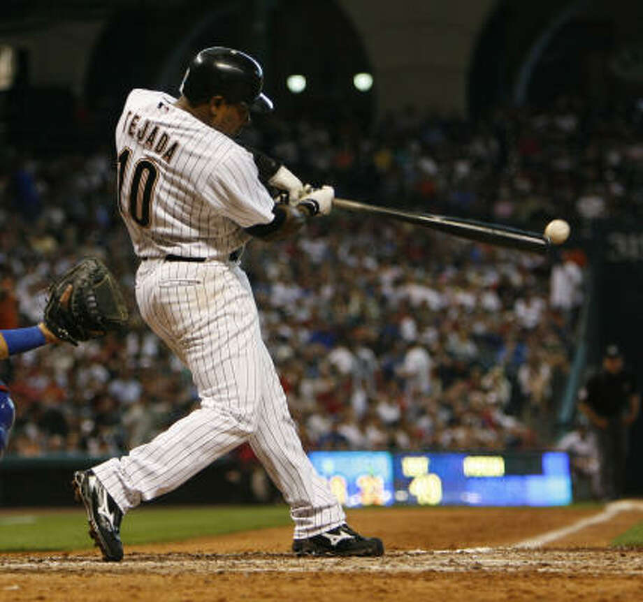 Miguel Tejada is hitting .342 and leading all major league shortstops in RBIs and hits. His defense has been solid. If he brought nothing else to the table, the Astros would be thrilled, columnist Richard Justice writes. Photo: Karen Warren, Chronicle