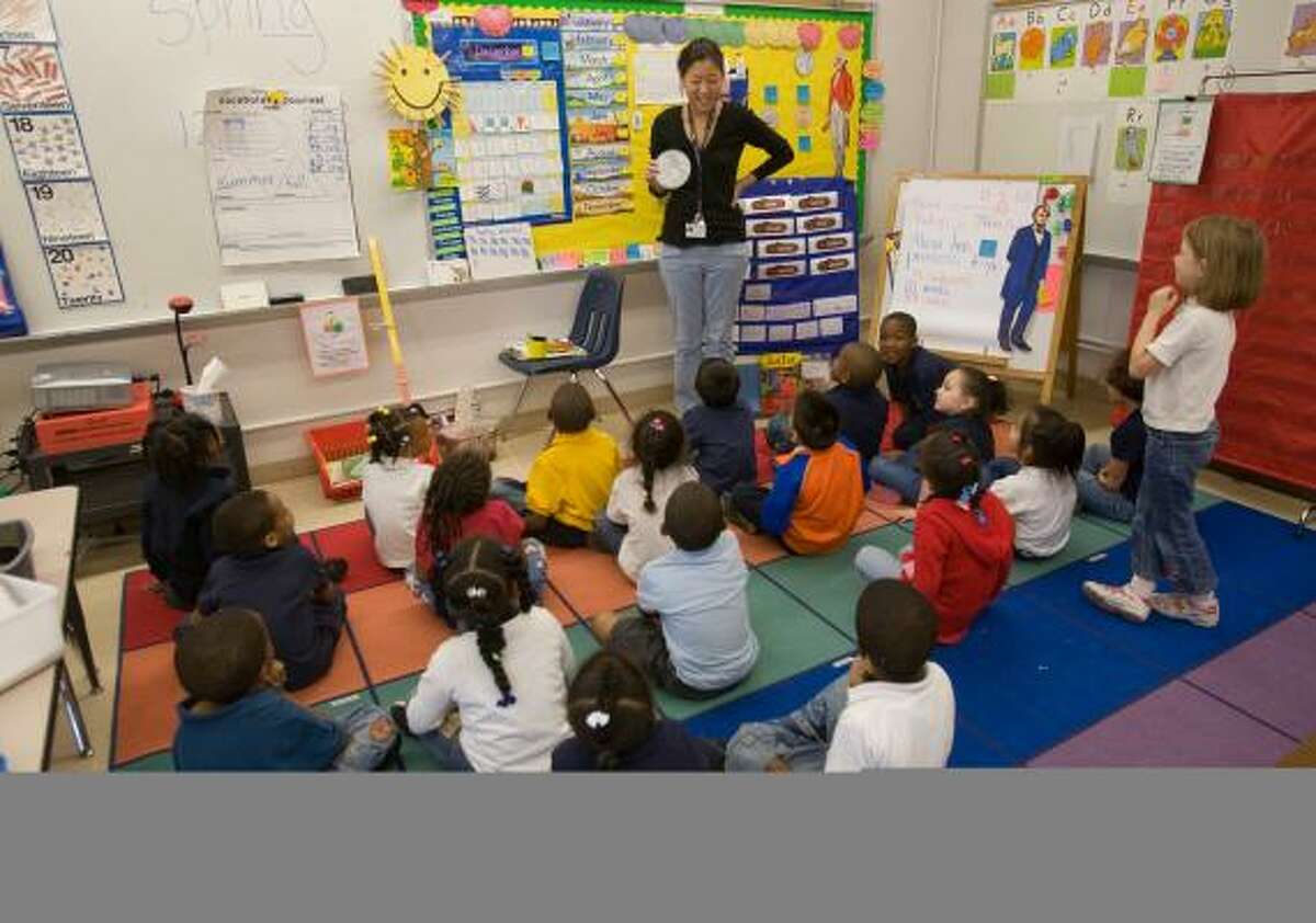 The high mobility rate has posed problems at schools such as HISD's Bonham Elementary, where Sherry Kroll teaches kindergarten.