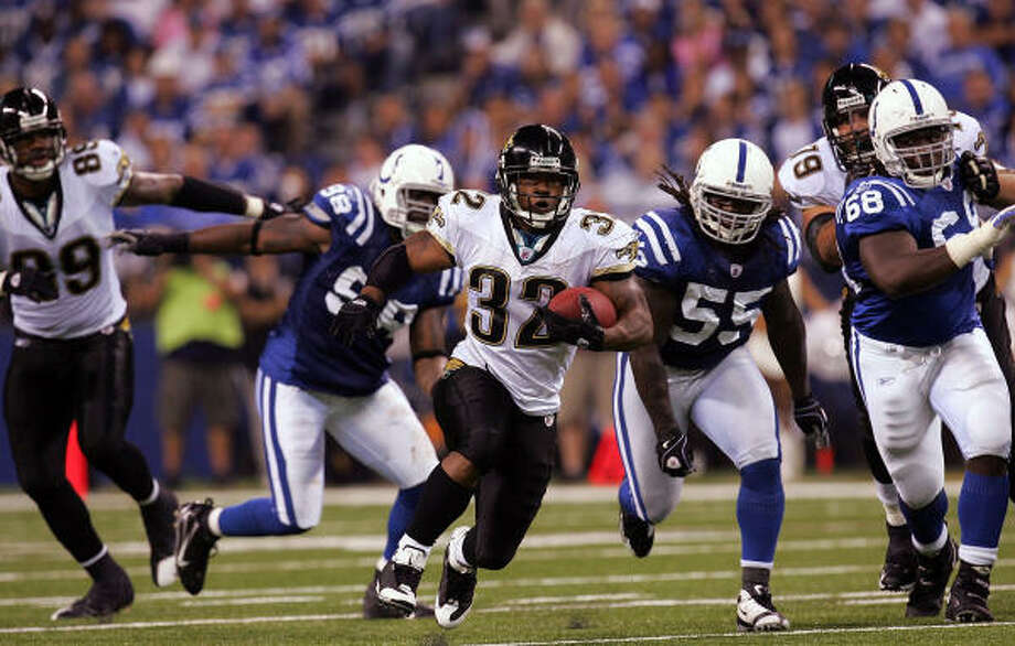 Running back Maurice Jones-Drew gave the Colts fits last week. Photo: Ronald Martinez, Getty Images