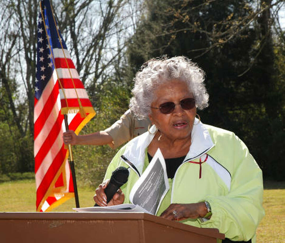 Viola Butler Outley, related to descendents of David Outley - Alief's first black educator and namesake of Outley Elementary School in the Alief Independent School District - speaks during the ceremony that unveiled a state historical marker at the site of Prairie Grove cemetery, 13685 Renn Road and Eldridge Parkway.