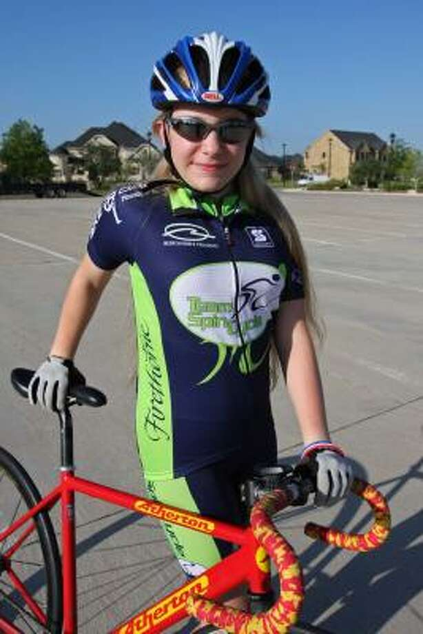 Madeleine McDuff, 13, an eighth grader at Woodcreek Middle School will compete in the junior track nationals August 14-17 at Carson, California. Photo: Suzanne Rehak