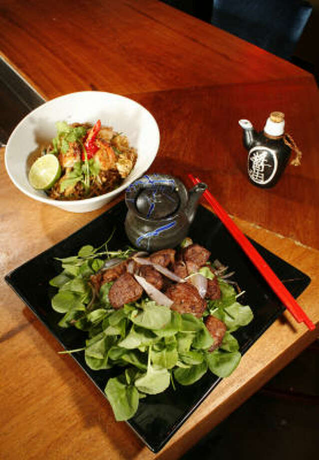 Vietnamese shaking beef is one of the offerings at Gig's Asian Bistro & Dumpling Bar. Photo: Steve Ueckert, Chronicle