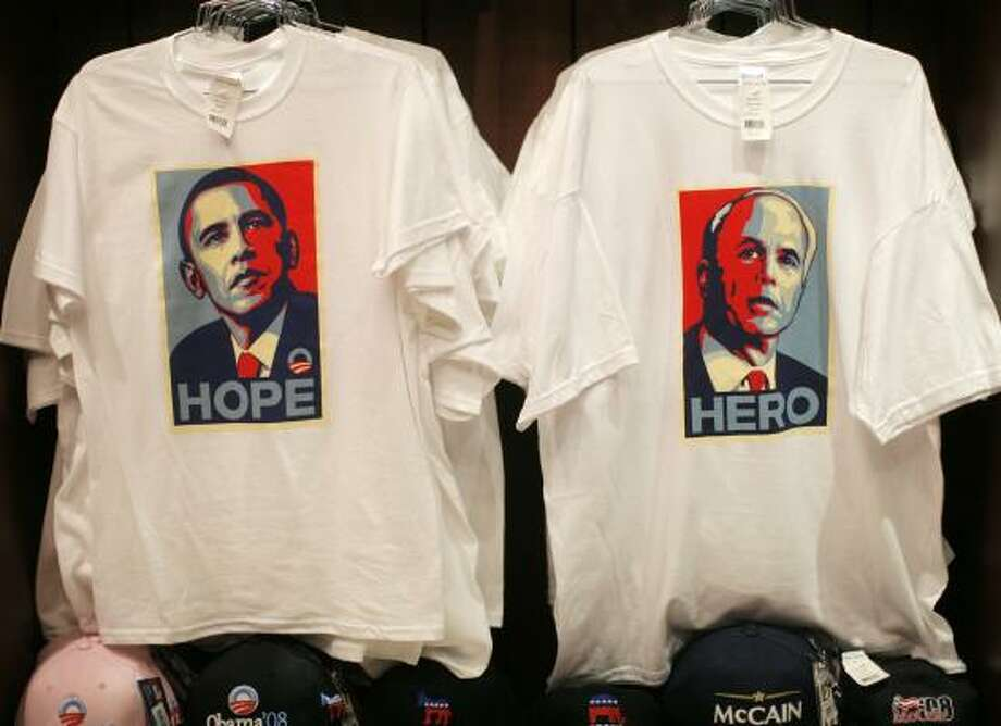 Paired with jeans or dressed up with a seersucker jacket and khakis for a night on the town, political T-shirts are turning up on city streets and retail shelves like never before. Photo: JAE C. HONG, ASSOCIATED PRESS