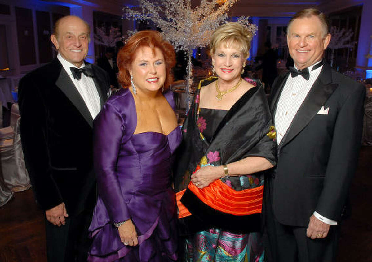 Jodie and Maryann Hoffer, from left, joined Suzanne and Jack McCrary as four of the six chairs of the Baylor College of Medicine's Huffington Center on Aging Crystal Ball, held at River Oaks Country Club.