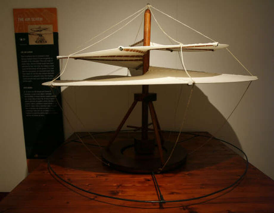 The air screw designed by da Vinci was a precursor to the helicopter. Photo: James Nielsen, Chronicle