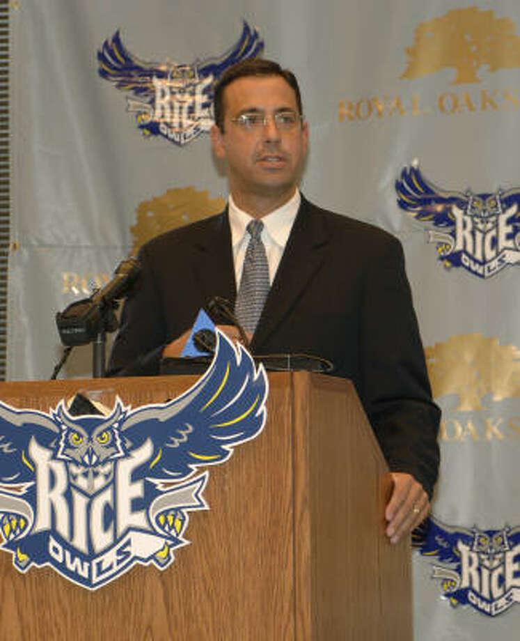 Rice Athletic Director Chris Del Conte. Photo: Thomas LaVergne, Rice University