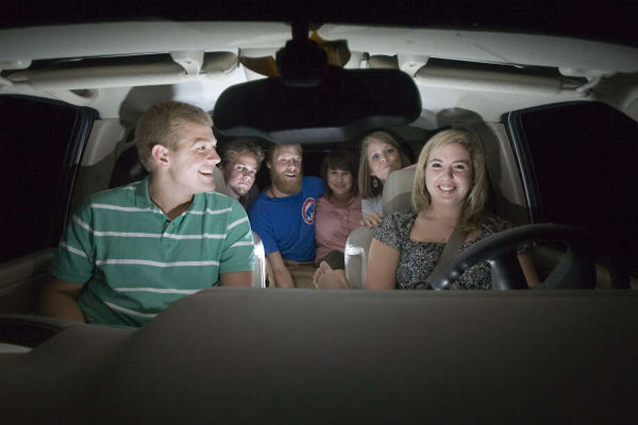 Texas Tech University student Shannon Daughtry takes the wheel while carpooling with fellow students Alex Dailey (front left), Eric Buchanan (left rear), Zach Hughes (2nd from left), Ariene Amaya (3rd from left) and Shelby Smith (right rear). Photo: James Nielsen, Chronicle