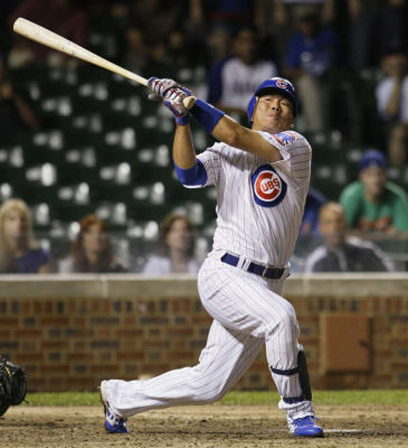 Kosuke Fukudome strikes out in the seventh. It turned out to be a big inning for hte Cubs, however. Photo: M. Spencer Green, AP