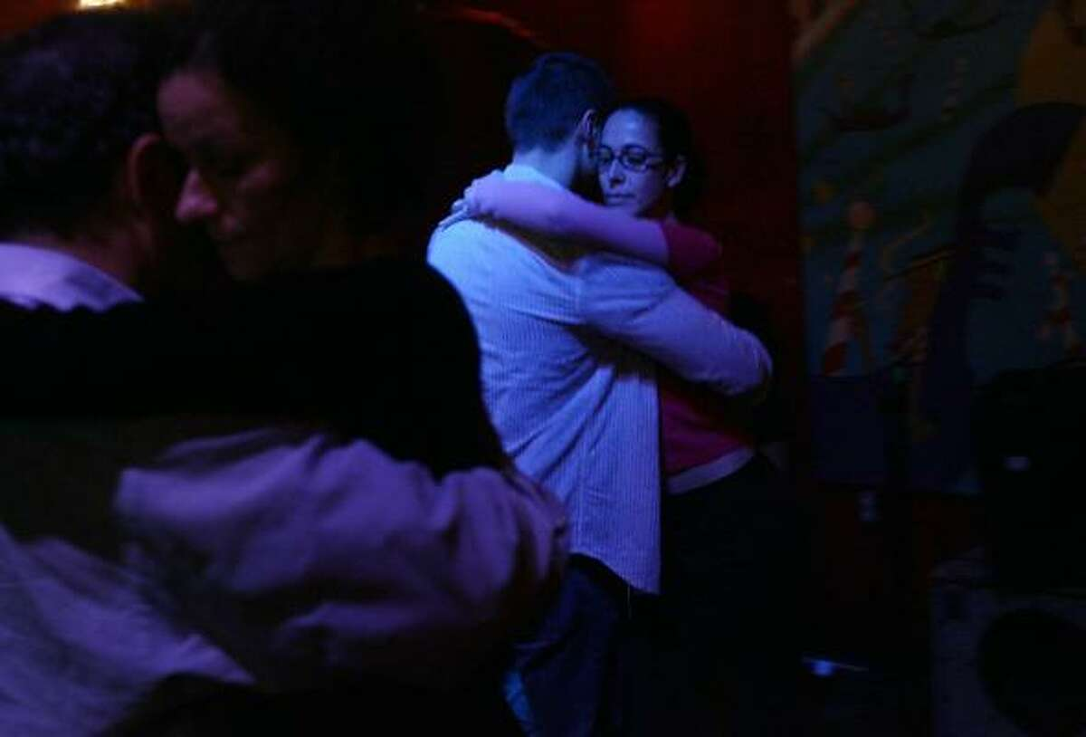 The tango is not always a lonely affair. On a recent Monday at the Big Top, couples dance while listening to Glover Gill's live tango music.