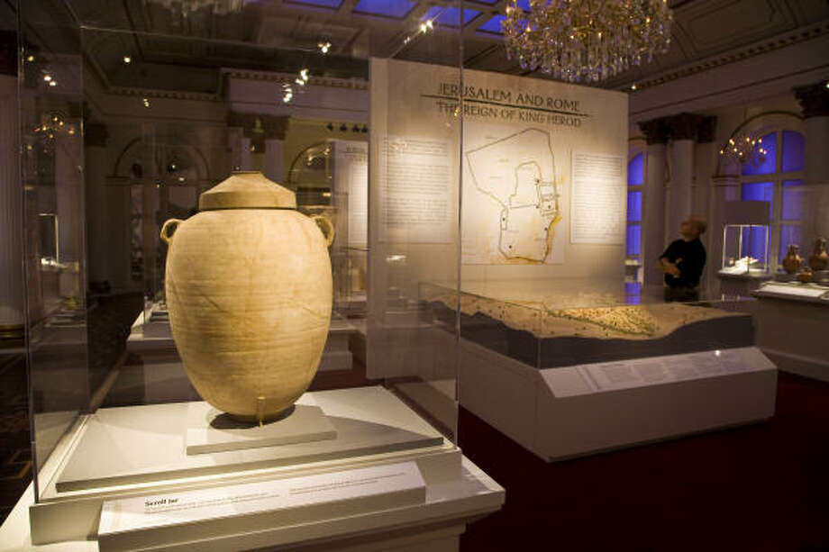 A first century B.C. scroll jar is part of the exhibit The Birth of Christianity: A Jewish Story at the Houston Museum of Natural Science. Photo: Michael Paulsen, Chronicle