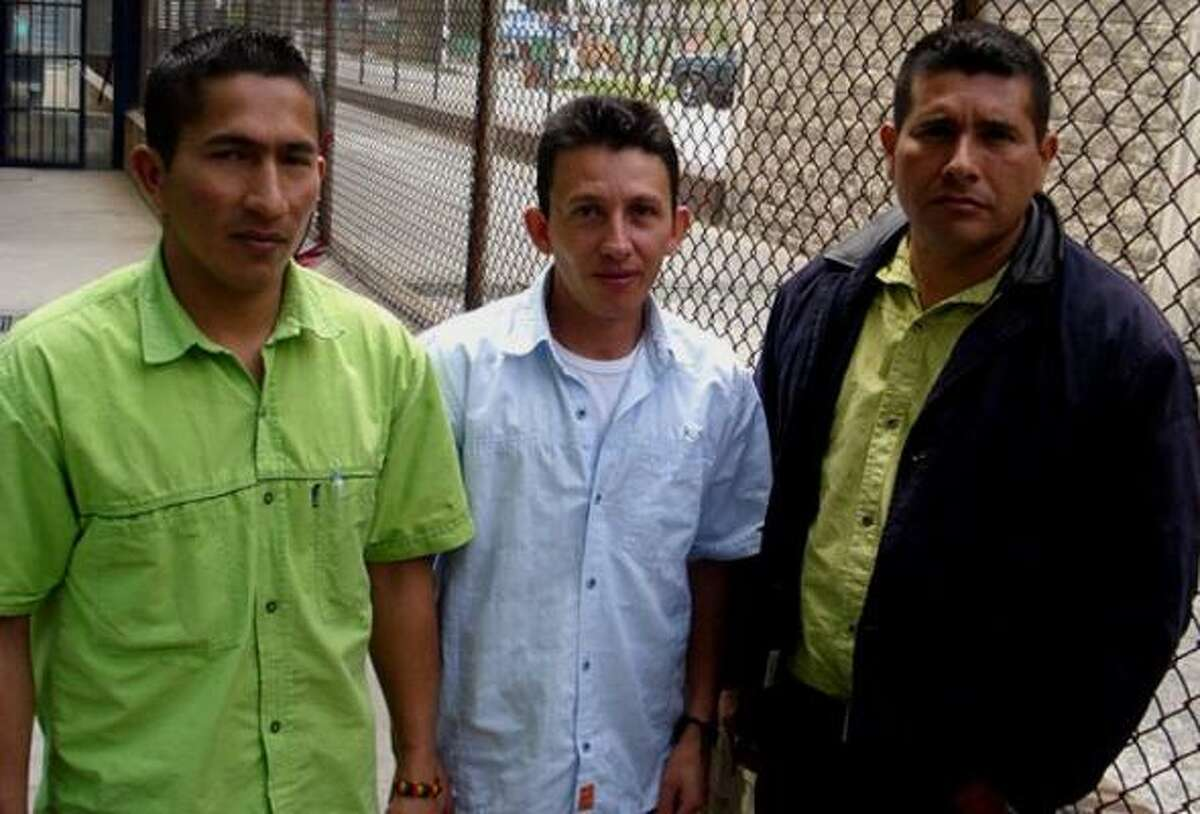 At La Picota prison in Bogota, captured FARC rebels, from left, Wilson Barragan, Omar Mosquera and Raul Agudelo say they are willing to cooperate with the Colombian military in exchange for reduced prison terms. They joined a rebel dissident group called Hands for Peace. after coming to the conclusion that the armed struggle was no longer justified.