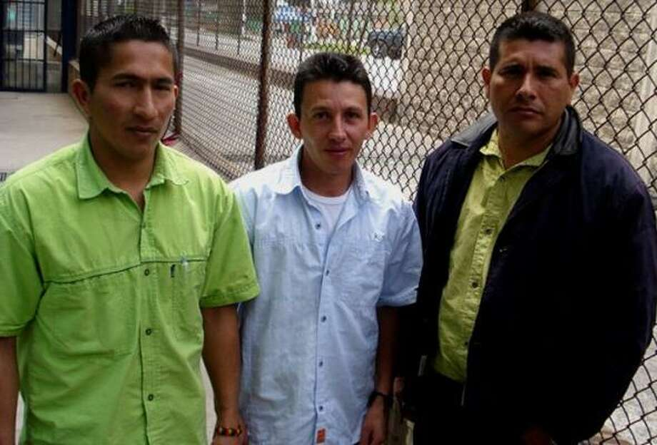 At La Picota prison in Bogota, captured FARC rebels, from left, Wilson Barragan, Omar Mosquera and Raul Agudelo say they are willing to cooperate with the Colombian military in exchange for reduced prison terms. They joined a rebel dissident group called Hands for Peace. after coming to the conclusion that the armed struggle was no longer justified. Photo: JOHN OTIS, CHRONICLE