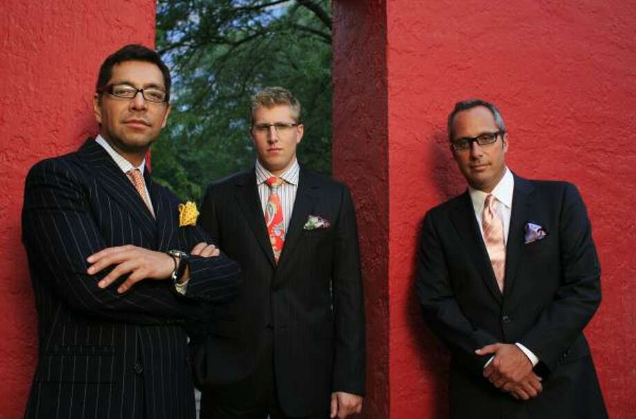 Jeremy Little, 26, center, evolved from East Coast nerd to man-about-Houston with the help of his boss, Mark Sullivan, right, and celebrity stylist Cerón. Photo: ERIC KAYNE, CHRONICLE