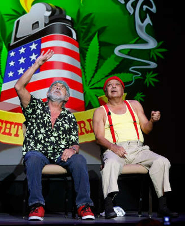 Tommy Chong, left, and Cheech Marin are feuding no more. The comedy duo's Light Up America reunion tour comes to Houston on Halloween. Photo: Ethan Miller, Getty Images