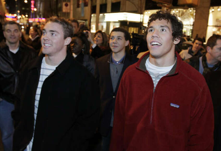Big 12 honorees Colt McCoy (second team) and Sam Bradford (first team) check out the sights in New York. Photo: Julie Jacobson, AP