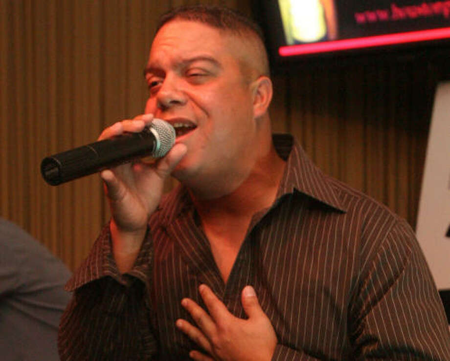 David Bermudez sings his heart out for Pride Idol. Photo: Bill Olive, For The Chronicle