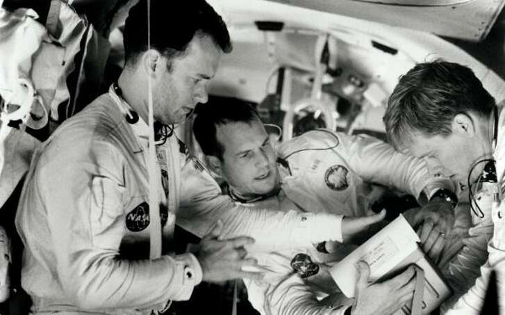 The dramatic story of Apollo 13 — and that famous phrase — was brought to life in a film of the same name starring, from left, Tom Hanks, Bill Paxton and Kevin Bacon.