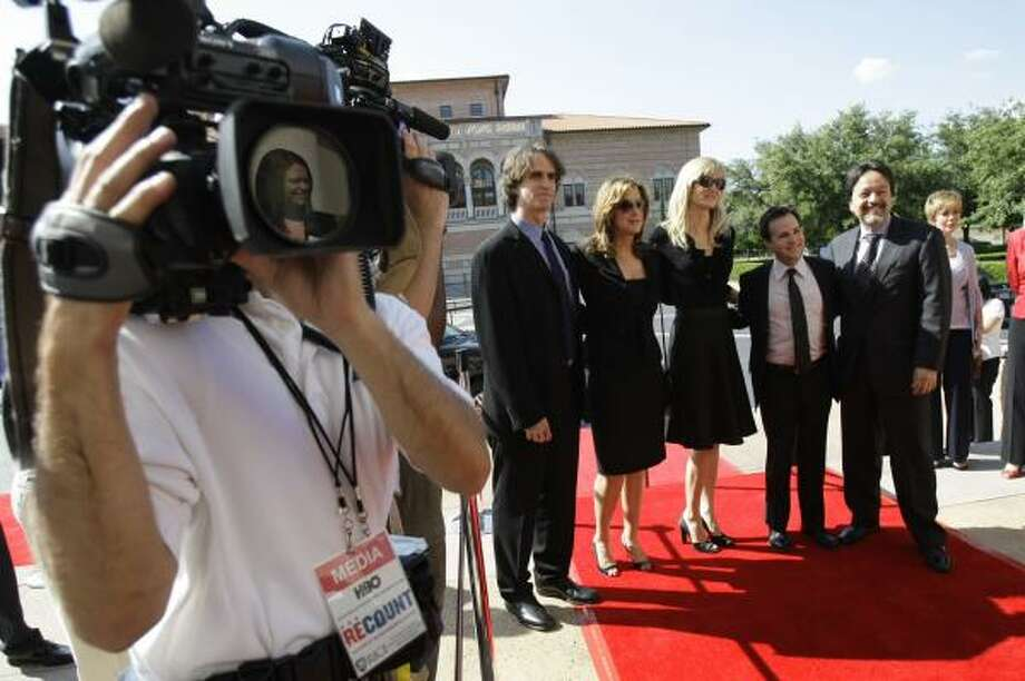 Tuesday's premiere of Recount — held at the Baker Institute for Public Policy on the Rice University campus — was attended by director Jay Roach, left, executive producer Paula Weinstein, actress Laura Dern, writer Danny Strong, and Len Amato, executive producer. Photo: KAREN WARREN, CHRONICLE