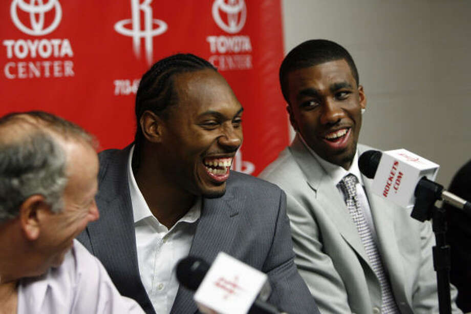 Donte' Greene, right, was all smiles about being taken by the Rockets in the first round of Thursday's NBA draft. Photo: Johnny Hanson, Chronicle