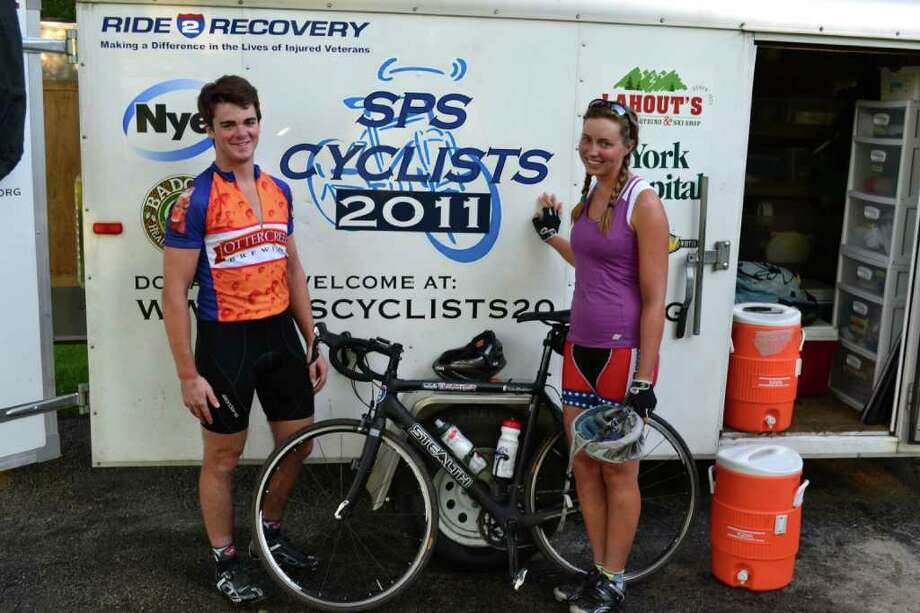 Tucker Burleigh  (left) and Lia Keyser were part of a group of seven students from St. Paul's who rode across the country this summer to raise money for Ride2Recovery. Photo: Contributed Photo