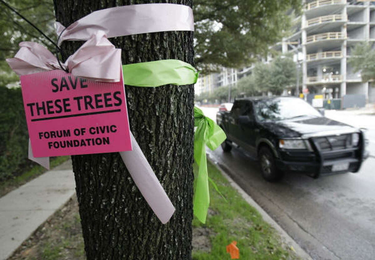 Opponents of the plan to raze the live oaks along Kirby Drive made their wishes known earlier this year.