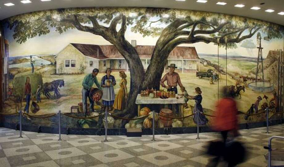 Peter Hurd's mural in the lobby of the former Prudential Life Insurance building is slated to be demolished with the high-rise next year. Photo: STEVE UECKERT, CHRONICLE