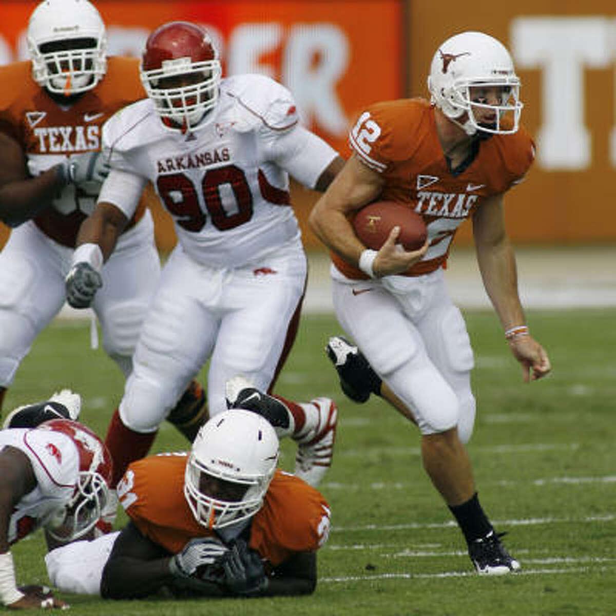 Texas' leading rusher so far? Colt McCoy.