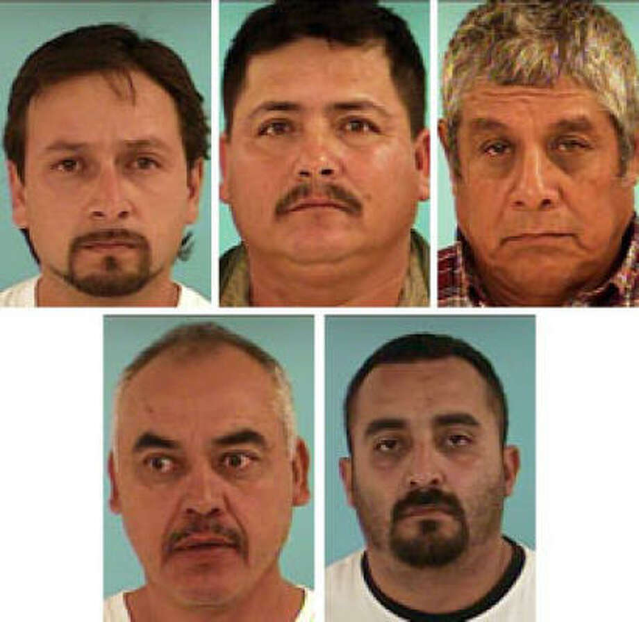 Arrested were, from top row left, Oscar Luis Anaya, Luis Arias Benitez, Miguel Figuero, Francisco Javier Olivo and Jose Lazaro Ponce. Photo: Montgomery County Sheriff's Office