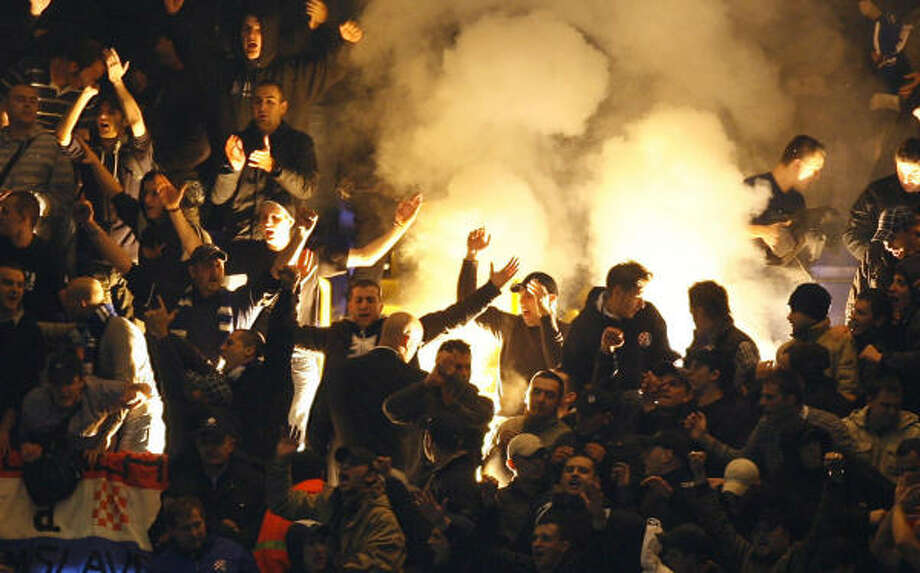 These fans of Dinamo Zagreb give Dynamo fans a bad name during the match against Tottenham. Photo: IAN KINGTON, AFP/Getty Images