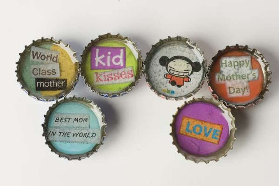 Simple bottle caps can be made into fridge magnets that would please any mom. Photo: BUSTER DEAN, CHRONICLE