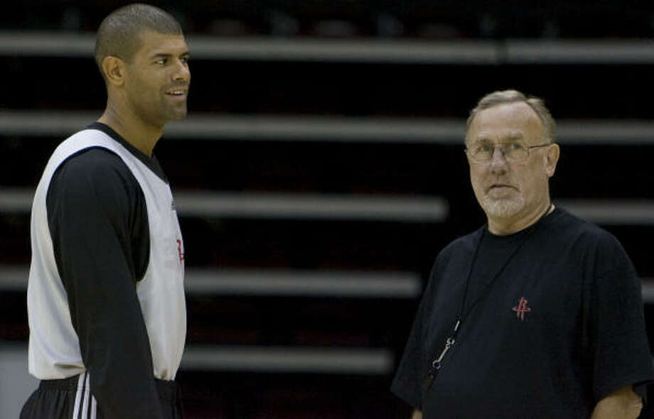 Shane Battier, left, doesn't know what head coach Rick Adelman has planned for the lineup when he returns. Photo: James Nielsen, Chronicle