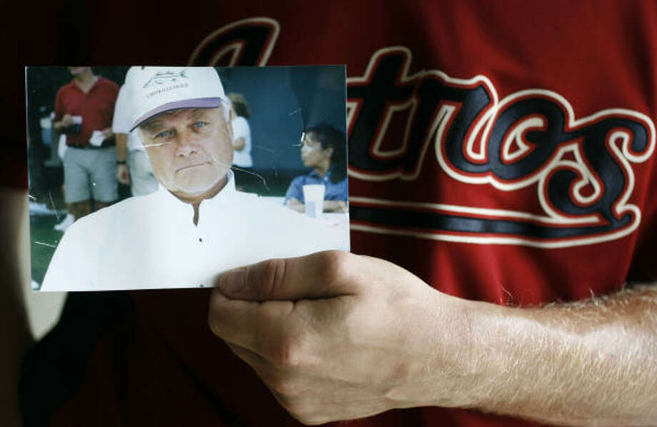 Lance Niekro carries a picture of his father Joe Niekro at Astros spring training and everywhere he goes. Photo: Karen Warren, Houston Chronicle