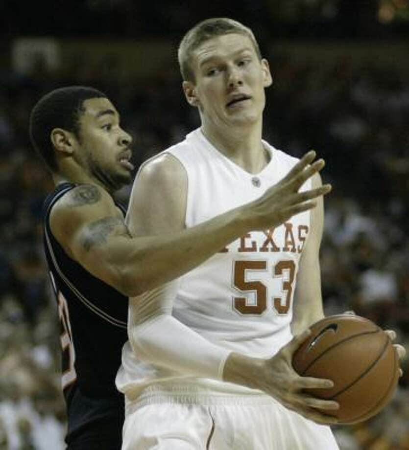 Texas and center Clint Chapman open Big 12 tournament play on Friday against either Texas Tech or Oklahoma State. Photo: Harry Cabluck, AP