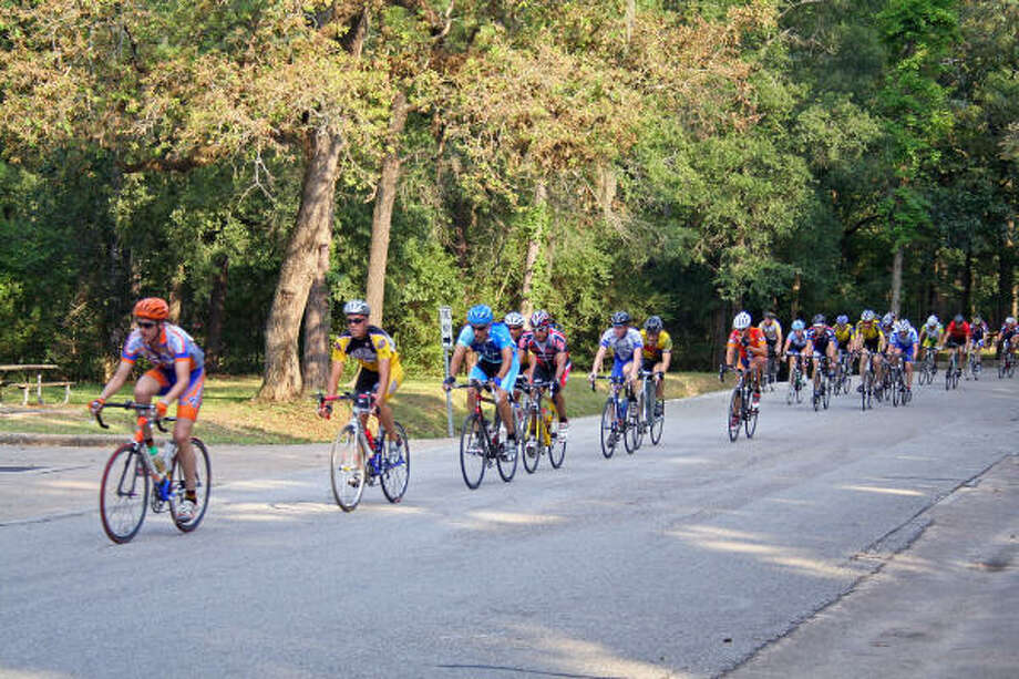 The Criterium races are held every Wednesday evening in Memorial Park through August. Photo: Tom Behrens, For The Chronicle