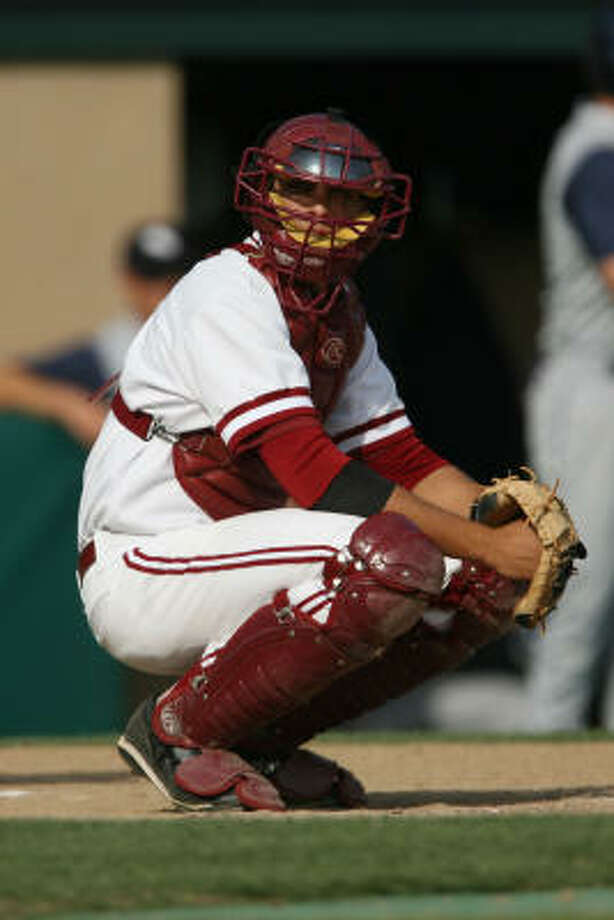 The history on Jason Castro, in his junior season at Stanford, would indicate he'd be a candidate for uprooting from behind the plate, Zachary Levine writes. Photo: David Gonzales, Stanford Athletic