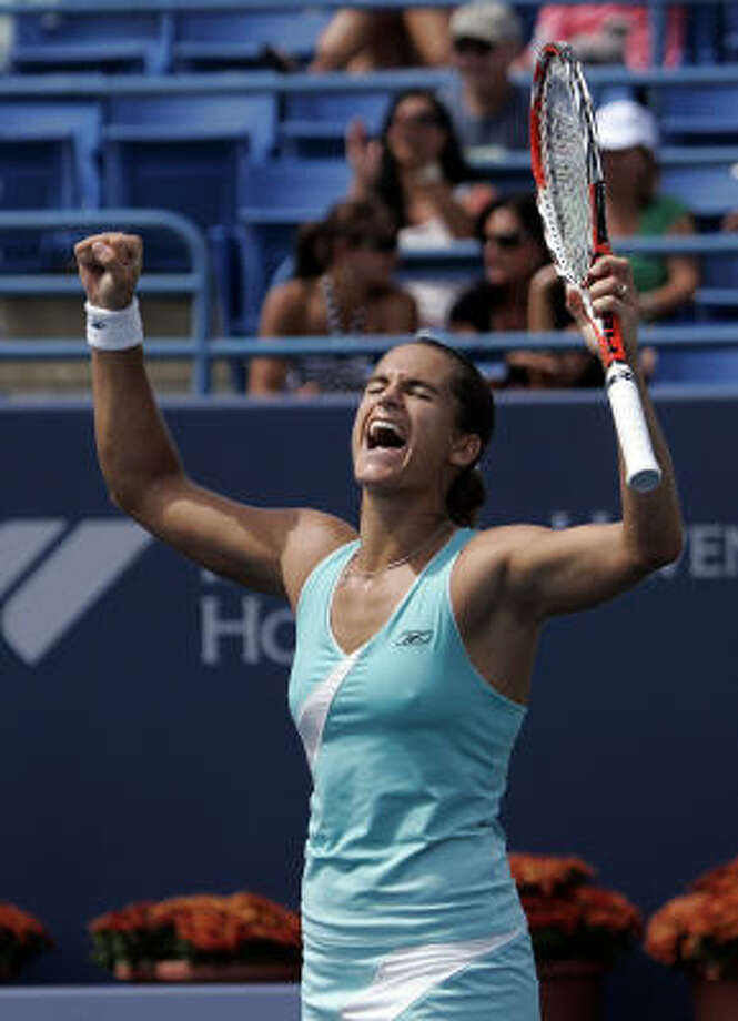 When you've missed as much time with injuries as Amelie Mauresmo has lately, even a second-round win in a U.S. Open warmup event is cause for celebration. Photo: Bob Child, Associated Press