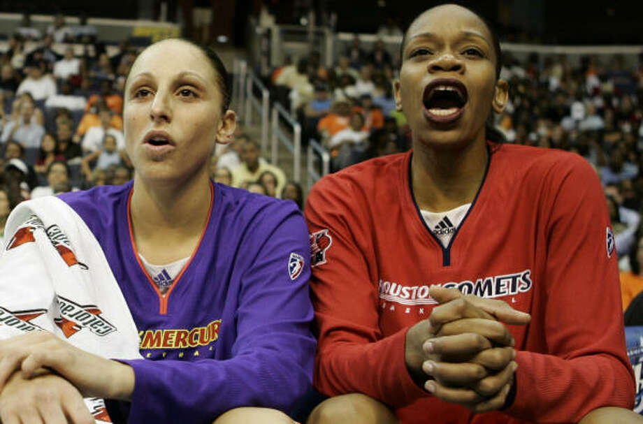 Diana Taurasi (with Comets forward Tina Thompson) is entering her fifth WNBA season. Photo: Evan Vucci, AP