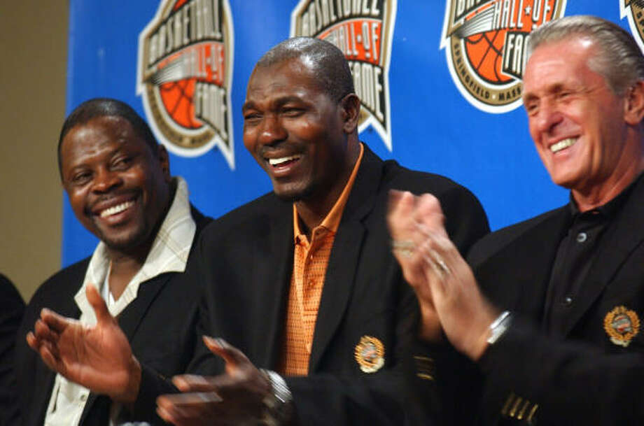 Three key figures from the 1994 Finals are joining the Hall: Patrick Ewing, Hakeem Olajuwon and Pat Riley. Photo: Nathan K. Martin, AP