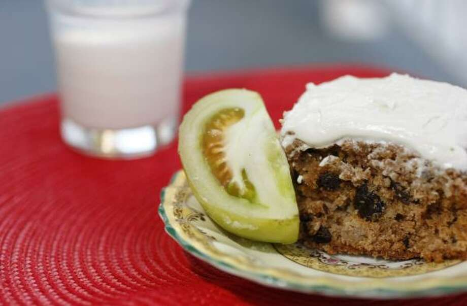 THEY'RE FRUIT: Tomatoes are not a vegetable, but we'll take them anyway in this recipe for Green Tomato Cake topped with Cream Cheese Frosting. Photo: JOHNNY HANSON, CHRONICLE