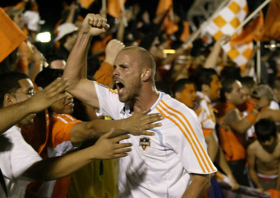 """Last Wednesday, a small area of the Texas Children's Hospital was turned into"""" """"Nick's Corner,"""" paying homage to soccer and its positive connection to the fight against cancer. Hanging on the wall are the Dynamo jerseys of Craig Waibel, center, and Stuart Holden. Photo: Paul Zoeller, AP"""