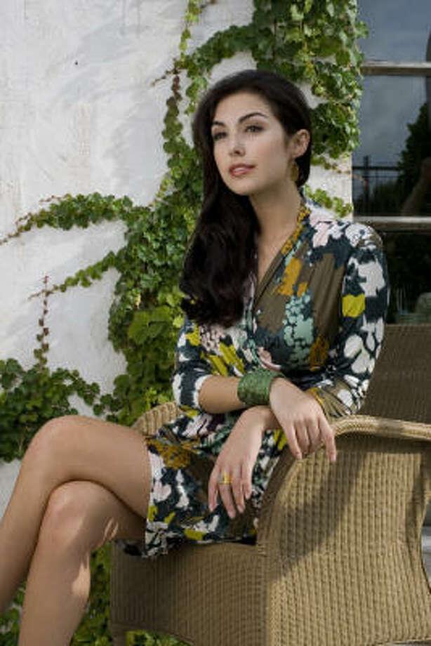 Magen Ellis of Page Parkes Models wears a Catherine Malandrino floral jersey dress, $425, Neiman Marcus. Photo: Karen Warren, Houston Chronicle