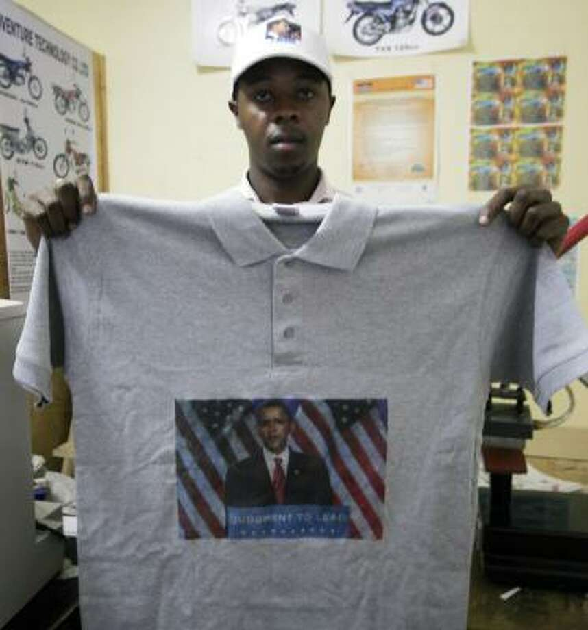 Joe Muturi's company produces Barack Obama merchandise in Nairobi. Photo: KHALIL SENOSI, AP