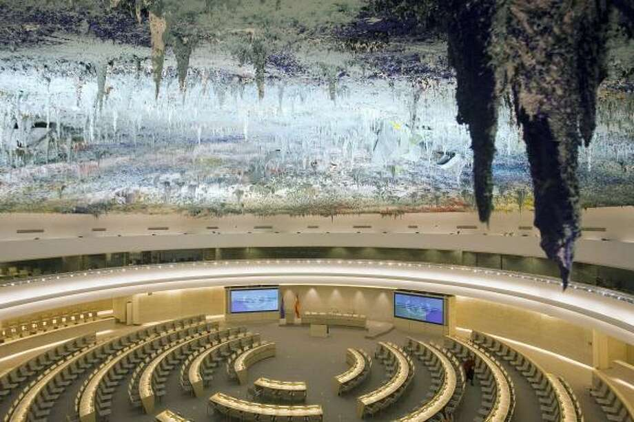 """The painted ceiling of the Human Rights Room at the European headquarters of the United Nations in Geneva, Switzerland, is """"innovative and radiant,"""" says U.N. Secretary-General Ban Ki-moon. Photo: SALVATORE DI NOLFI, ASSOCIATED PRESS"""