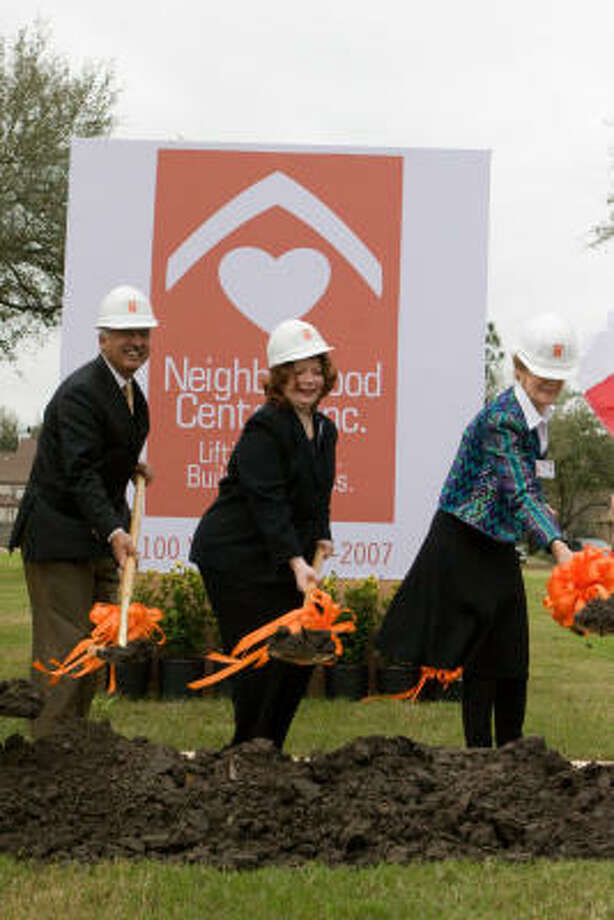 District F City Councilman M.J. Khan, left, joins Neighborhood Centers Inc. president/chief executive officer Angela Blanchard and NCI New Century Campaign Phase II chair Susan Baker to help break ground for the organization's new Gulfton/Sharpstown Community Center, 6500 Rookin St., on Feb. 22. Photo: R. Clayton McKee, For The Chronicle