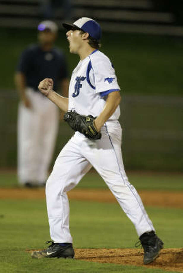 Friendswood's starting pitcher Stefan Myers celebrates after the final out in the 7th inning. Photo: Karen Warren, Chronicle